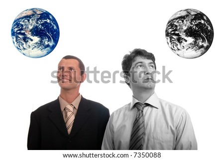 results of polution on earth (enviromental concept) - happy man and sad man - stock photo