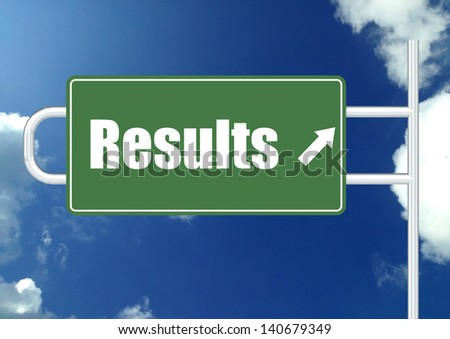 Results road sign board - stock photo