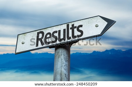 Results sign with sky background - stock photo