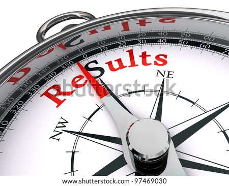 results towards south indicated by compass conceptual image.clipping path included - stock photo
