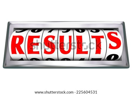Results word on an odometer or gauge measuring the outcome and success of your efforts working to meet a goal or objective - stock photo