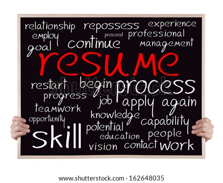Resume And Other Related Words Handwritten On Blackboard
