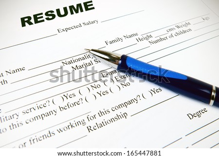 Resume application paper form on white