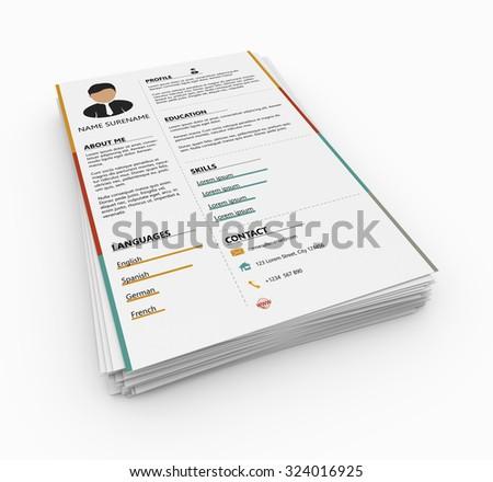 Resume as concept, minimalist cv - stock photo