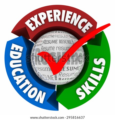 resume check mark and arrows for educaiton skills and experience as qualifications for landing an