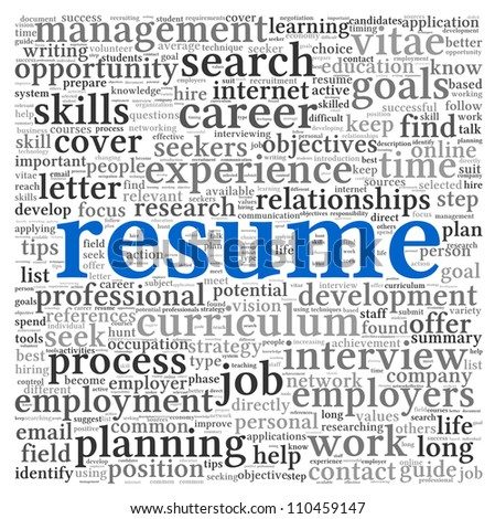 resume concept word tag cloud on stock illustration 110459147