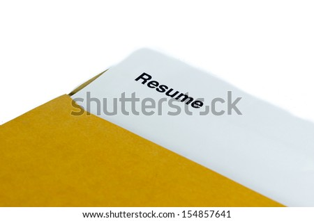 Resume. In brown envelope on the table. - stock photo