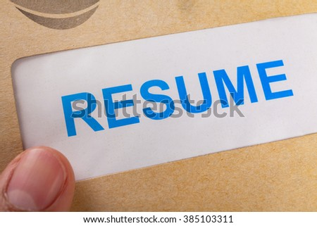 Resume letter background in brown envelop, can use as recruitment business concept - stock photo