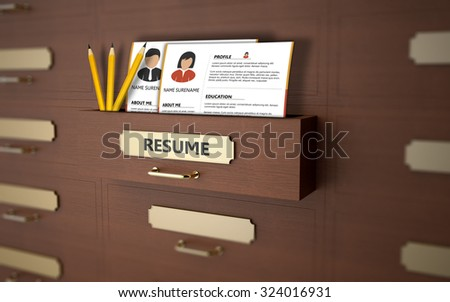 Resume of unemployed people in an office drawer - stock photo