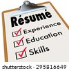 Resume word on a clipboard checklist of qualifications or criteria for a job including education, experience and skills - stock photo