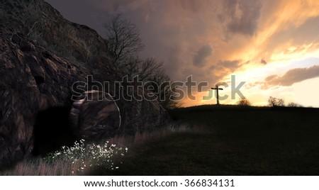 resurrection sunrise - stock photo
