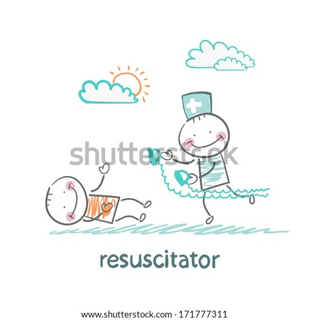 resuscitation in a hurry to sick patient - stock photo