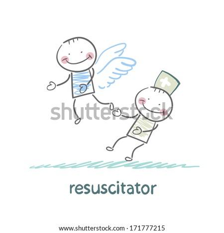 resuscitator keeps flying away into the sky patient - stock photo