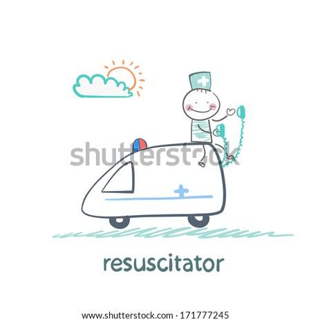 resuscitator rides in the ambulance - stock photo