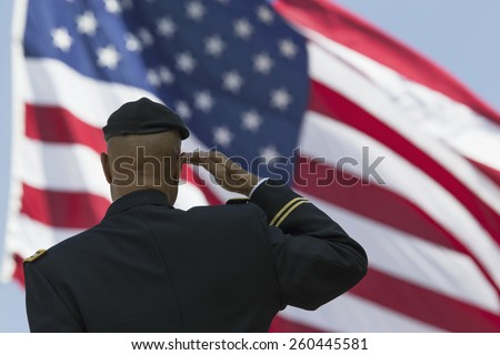 Ret. Milton S. Herring saluting U.S. flag, Los Angeles National Cemetery Annual Memorial Event, May 26, 2014, California, USA, 05.26.2014 - stock photo
