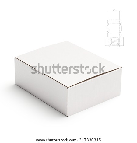 Retail Box with Lid and Die Line Template - stock photo