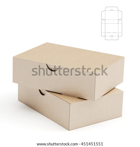 Retail Cardboard Box with Blueprint Template 3D Rendering