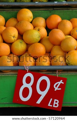 Retail food Image of Fresh Fruit (Oranges) at a Market Stall - stock photo
