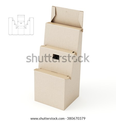 Retail Shelf Stand Box with Die Cut Template