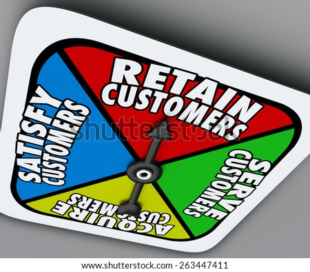 Retain, Serve, Satisfy and Acquire Customers words on a board game spinner to illustrate the steps of customer support and service for a successful business or company - stock photo