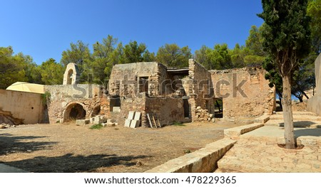 Rethymno city Greece Fortezza fortress chapel ruins landmark architecture