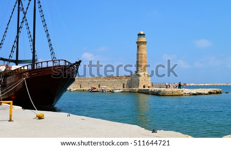 Rethymno city Greece light house landmark architecture