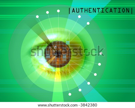 Retina scanning as a security system. Digital illustration. - stock photo