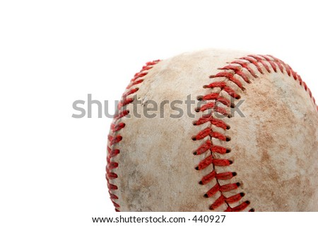 retired baseball, close up and over white