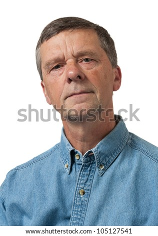 Retired executive looks pensively towards the camera and isolated against white - stock photo
