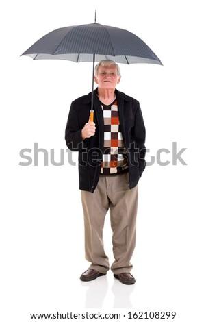 retired man holding umbrella on white background - stock photo