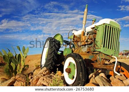 Retired tractor - stock photo