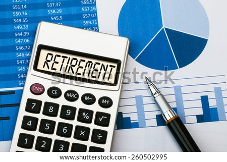 retirement concept displayed on calculator