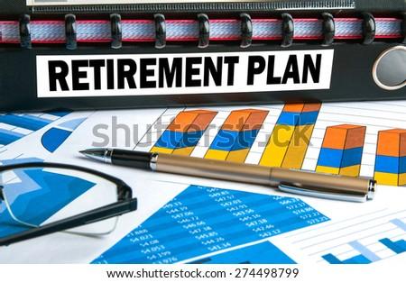 retirement concept on document folder - stock photo