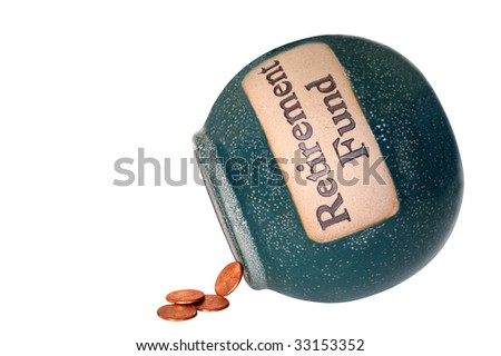 Retirement fund savings bank with only four pennies inside - stock photo