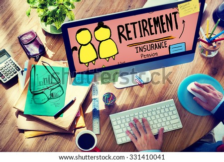 Retirement Insurance Pension Saving Plan Benefits Travel Concept - stock photo