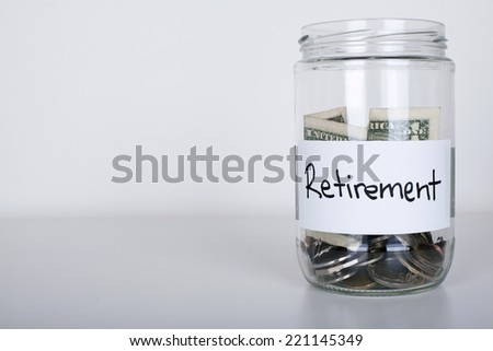 Retirement Jar with Copy Space - stock photo