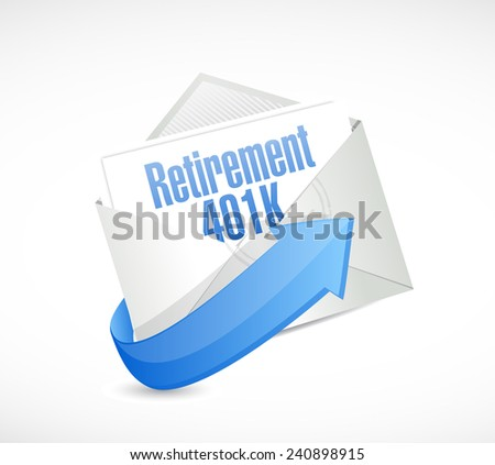 retirement 401k email message illustration design over a white background - stock photo