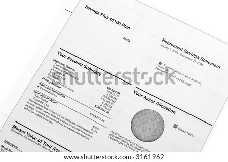 Retirement 401(K) savings and investments - account statements summary - stock photo