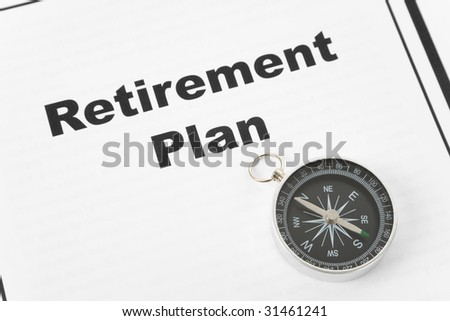 Retirement Plan and Compass, business concept - stock photo