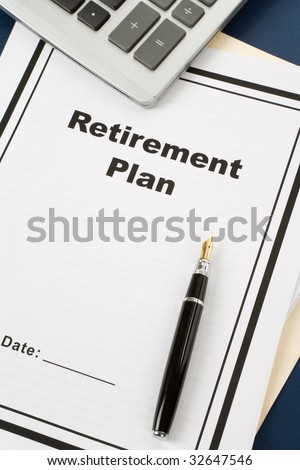 Retirement Plan and pen, business concept - stock photo