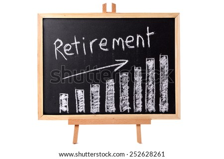 Retirement plan : Blackboard with retirement savings growth chart, isolated on a white background.  Investment, growth, retirement plan concept. - stock photo