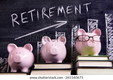 Retirement plan, piggy bank - stock photo