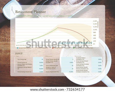 retirement planning graph on workplace background stock photo