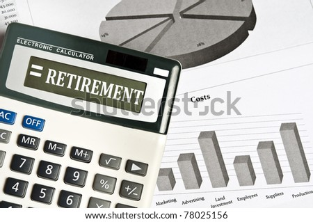 Retirement word on electronic calculator - stock photo