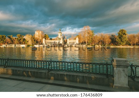 Retiro Park, Madrid, Spain - stock photo
