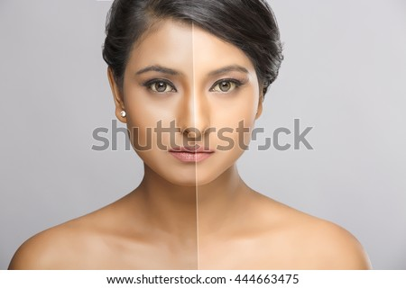 Retouch - face of beautiful young woman before and after