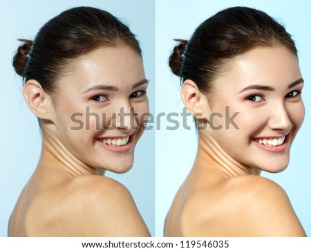 Retouch - face of beautiful young woman before and after retouch, over blue - stock photo