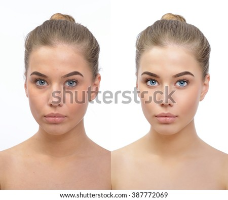 Retouch - face of beautiful young woman before and after retouch. Power of retouching. - stock photo