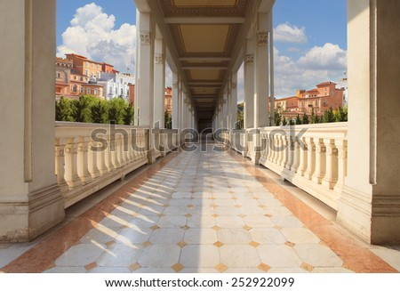 retouching of perspective walking way of old and ancient building against european building style background - stock photo