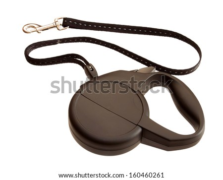Retractable leash for dog isolated on white background  - stock photo